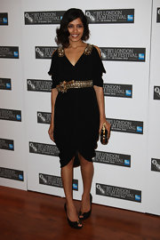 Frieda Pinto paired her draped Resort 2011 dress with peep-toe Stitched leather pumps.