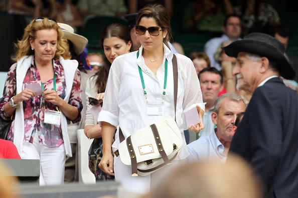 Mirka Federer Leather Messenger Bag