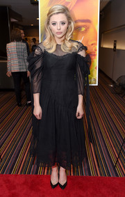 Chloe Grace Moretz went demure in a Simone Rocha LBD with a sheer yoke and sleeves at the New York screening of 'The Miseducation of Cameron Post.'