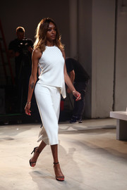 Jourdan Dunn modeled this ribbed white knit top at the Misha Collection fashion show.