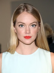 Lindsay Ellingson swiped on some bright red lipstick for a jolt of color to her look.