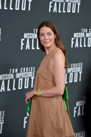 Michelle Monaghan's gold and green Irene Neuwirth cuff popped so elegantly against her tan dress at the US premiere of 'Mission: Impossible — Fallout.'