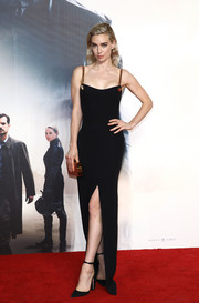 Vanessa Kirby looked alluring in a black Tom Ford column dress with a high slit and gold chain shoulder straps at the UK premiere of 'Mission: Impossible — Fallout.'