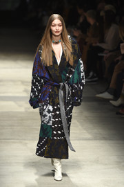 Gigi Hadid was winter-chic in a colorful print coat while walking the Missoni Fall 2020 show.