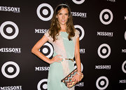 A patterned clutch added interest to Alessandra's look at the Target collaboration launch.