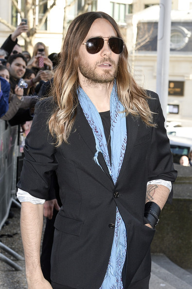Jared Leto was classic cool in a pair of brown aviator sunglasses.