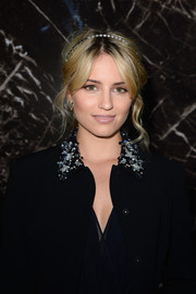 Dianna Agron looked like a fairy-tale princess with her romantic loose 'do, complete with a headband, at the Miu Miu fashion show.