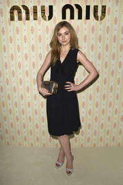 Imogen Poots styled her frock with chic silver platform sandals.