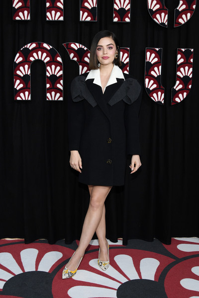 Lucy Hale looked cool in a structured black-and-white tux dress by Miu Miu during the brand's Fall 2020 show.