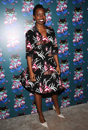 Adepero Oduye looked vibrant in a tropical-print fit-and-flare dress during the 'Spark & Light' screening.