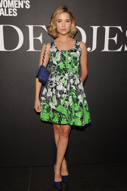 Ashley Benson brought a whiff of summer to the 'De Djess' screening with this printed button-down dress by Miu Miu.
