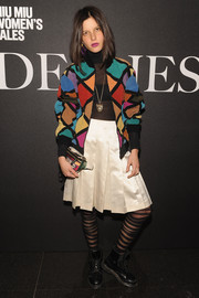 Tatiana Cotliar sported a fun mix of colors with this multi-hued bomber jacket at the 'De Djess' screening.