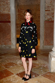 Alba Rohrwacher attended the Miu Miu Women's Tales dinner wearing a collared print dress from the label.