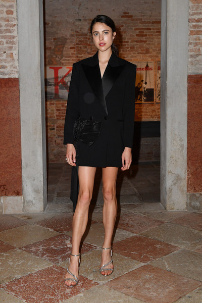 Margaret Qualley looked sharp in a black tuxedo dress at the Miu Miu Women's Tales dinner.
