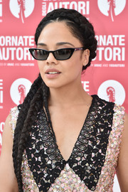 Tessa Thompson went boho with this long braided hairstyle at the Miu Miu photocall during the 2019 Venice Film Festival.