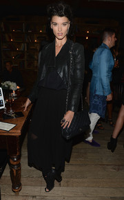 For her shoes, Crystal Renn chose a pair of black open-toe booties.