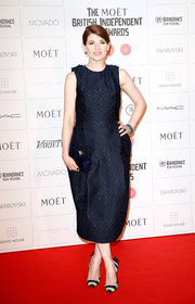Jodie Whittaker kept it classy at the Moet British Independent Film Awards in a midnight-blue cocktail dress featuring a subtle pattern.