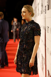 Saoirse Ronan went retro in a fully beaded shift dress by Burberry at the Moet British Independent Film Awards.