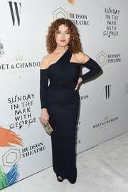 Bernadette Peters was modern in a midnight-blue one-shoulder gown at the Hudson Theatre reopening.