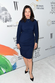 Fran Drescher wore a simple yet chic long-sleeve navy dress to the Hudson Theatre reopening.
