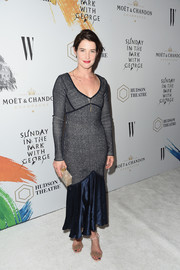 Cobie Smulders completed her outfit with a pair of embellished ankle-strap sandals.