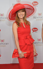 Jane Seymour completed her all-red ensemble with a striped red clutch at the Kentucky Derby Moet & Chandon toast.