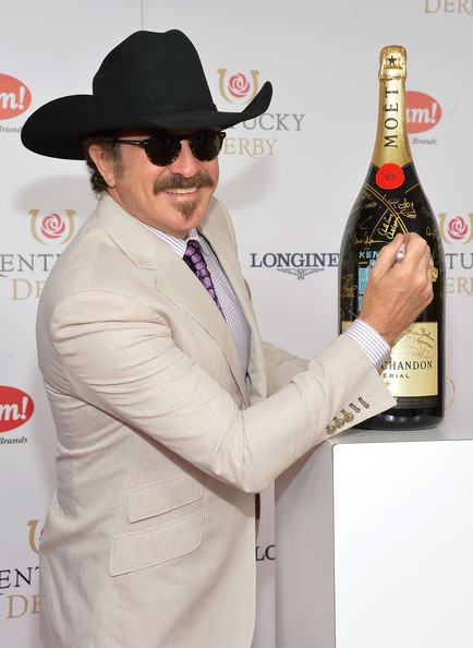 Kix Brooks looked cool at the Kentucky Derby Moet & Chandon toast in his black cowboy hat.