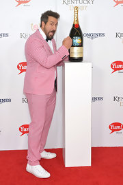 Joey Fatone looked wacky at the Kentucky Derby Moet & Chandon toast in a pink and white checkered suit and sneaks.