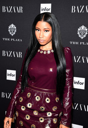 Nicki Minaj wore her hair ultra long and straight with a center part during the Harper's Bazaar Icons event.
