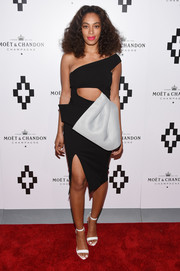 Solange Knowles looked super trendy in a half-peplum, one-shoulder cutout dress by Maticevski at the Moet Nectar Imperial Rose launch.