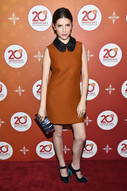 Anna Kendrick channeled her inner little girl in a rust-colored Peter Pan-collar mini dress by Roksanda for Mohegan Sun's 20th anniversary party.
