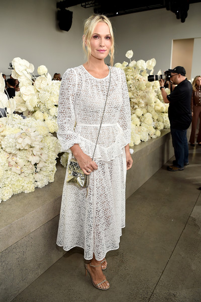 Molly Sims Lace Dress [shows,the shows,white,clothing,dress,fashion,lady,gown,shoulder,beauty,wedding dress,fashion design,molly sims,zimmermann - front row,front row,gallery i,new york city,zimmermann,spring studios,new york fashion week]