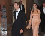 A glimmering beaded clutch completed Beatrice Borromeo's stunning evening look.