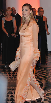 Beatrice Borromeo was pretty in peach at the Grand Prix Gala Dinner in Monaco.