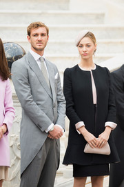 Beatrice Borromeo donned a simple yet elegant black skirt suit for the 2015 Monaco National Day celebrations.