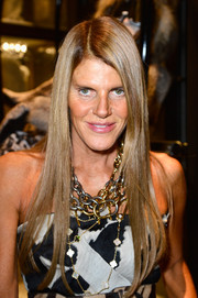 Anna dello Russo accessorized with layers of Lanvin chainlink necklaces for an ultra-chic finish.