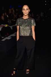Cara Santana brought plenty of shimmer to the Monique Lhuillier fashion show with this embellished silver top from the label's Spring 2015 collection.