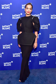 Rita Ora went modern in a structured black peplum gown by Vera Wang at the Montblanc Meisterstuck Le Petit Prince event.