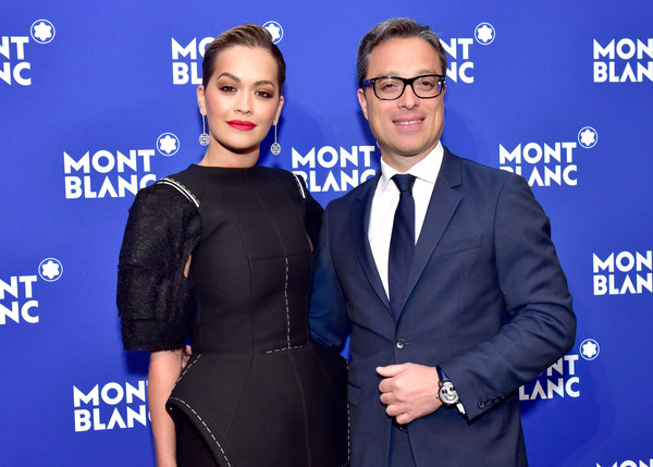 More Pics of Rita Ora Evening Dress (1 of 7) - Rita Ora Lookbook - StyleBistro [le petit prince,eyewear,premiere,event,suit,white-collar worker,electric blue,rita ora,nicolas baretzki,new york city,montblanc meisterstuck,one world trade center observatory,event,event]