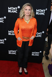 Morgan Fairchild completed her chic ensemble with comfy black ballet flats.