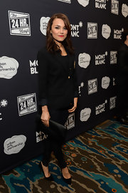 Samantha Barks looked subdued yet sophisticated in a black pantsuit during Montblanc's 24 Hour Plays.