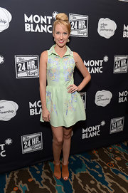 Anna Camp looked cute and youthful in a pastel-blue shirtdress featuring colorful embroidery during Montblanc's 24 Hour Plays.