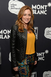 A quilted black leather jacket provided a stylish finish to Sasha Alexander's casual ensemble during Montblanc's 24 Hour Plays.