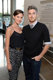 Odette Annable paired a black camisole with print pants for a smart and sexy finish during Montblanc's 24 Hour Plays.