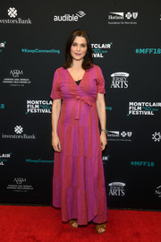 Rachel Weisz was boho in a magenta maternity wrap dress at the Montclair Film Festival.