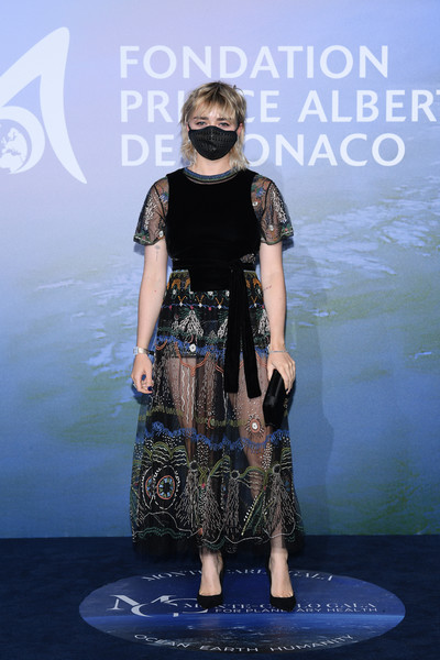 Maisie Williams flashed some skin in a sheer, embroidered dress by Dior at the Monte-Carlo Gala for Planetary Health.