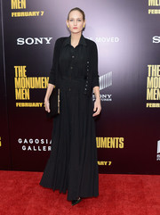 Leelee Sobieski looked subdued in her black-on-black cardigan and maxi dress combo.