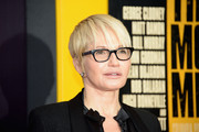 Ellen Barkin rocked a short cut with wispy bangs at the premiere of 'Monuments Men.'
