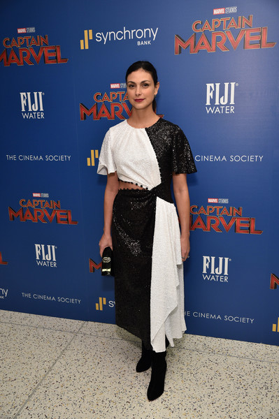 Morena Baccarin Cutout Dress [fiji water with the cinema society host a special screening of ``captain marvel,captain marvel,premiere,carpet,event,dress,flooring,fashion design,style,morena baccarin,new york city,cinema society,screening]