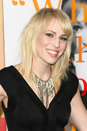 Natasha Bedingfield added a punk edge to her LBD with this chain necklace.